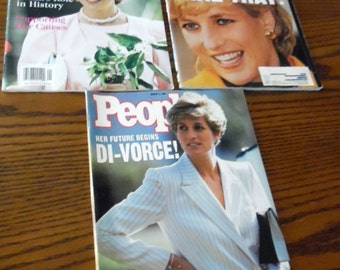 3~  1990s collector issues People magazine, Featuring Princess Diana, Princess Di, Royal family