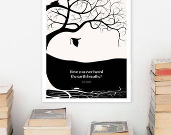 KATE CHOPIN Literary Art Print, Large Wall Art Posters, Literary Quote Poster, Illustration, Black and White Art, Literary Gift for Her