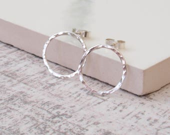 Rustic Circle Studs - Sterling Silver Hammered Circle Earrings - Handmade Silver Jewellery - Jewellery Made By Me - Etsy UK