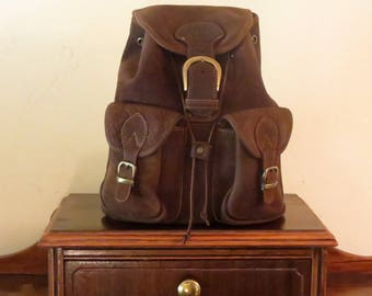 Dads Grads Sale Medium Size Backpack In Soft Brown Leather With Brass Hardware- VGC