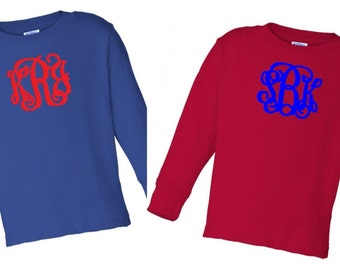 Monogrammed Long Sleeve Tees for Toddlers/Toddler Tees/Monogrammed Tees/Monogrammed Toddler Shirt/Personalized Gifts