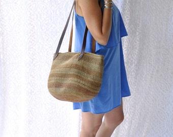 Woven Straw Boho Bag/ Jute Basket Purse Beach Bag. Oversized Woven Straw Jute Market Tote. Hippie Sisal Straw Purse/ Leather Shoulder Straps