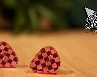 Checkered Guitar Picks - Pink Mirrored Acrylic