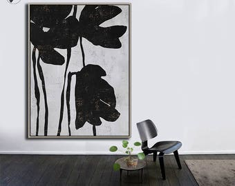 Large Wall Art Canvas Art Abstract Flowers, Modern Art Canvas Painting Minimalist Black and White  - Ethan Hill Art No.H131V