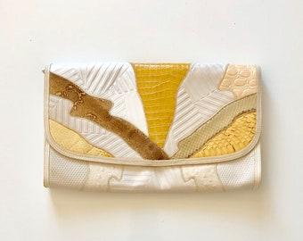 Vintage 1980's purse MIXED PRINT faux animal patchwork clutch