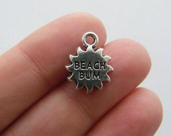 4 Beach bum charms antique silver tone M566
