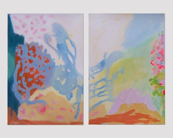 """DIPTYCH ORIGINAL PAINTING  #1371 Abstract  Modern Contemporary Art Pastel Blue Pink Yellow Orange """"a Dance for Two"""""""