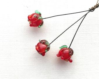 Baby Rose Bud Lampwork Headpins, Red Flower Bud Lampwork Headpins, Rose Lampwork Headpins, Set of 3 by Dry Gulch, Enchantment #772