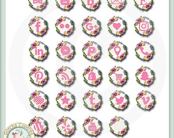 Social Media Icons Floral Wreath in pink