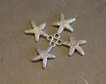 4 silver metal Starfish charms