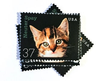 5 x Kitten 37 cent - Neuter Spay Unused, Vintage Postage Stamps - Cat Cats - for mail art, scrapbooking, mailing, crafts, card making