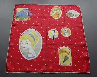 Vintage 1950s Novelty Large Silk Handkerchief Hankie Bandana or Small Scarf