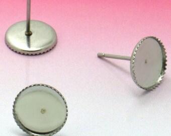 Wholesale 100 Stainless Steel Post Earring W/ 10mm Round Bezel Setting Jagged Frame Earring Base Hypoallergenic Stud Earrings