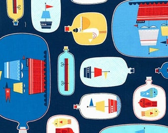 Message in a Bottle Ships in a Bottle Cotton Fabric - Remix - Nautical Fabric - Sailboat Fabric -  Robert Kaufman Fabrics