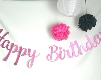 Happy birthday banner ,Custom banner, Gold glitter banner, Happy birthday, Birthday banner, party banner,  special occasion, party decor