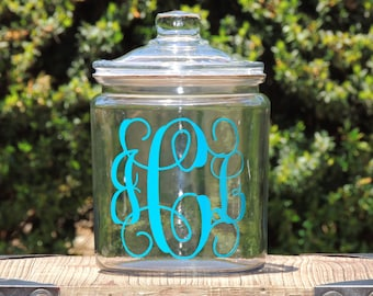 Monogrammed Glass Cookie Jar, candy dish, wedding candy jar. personalized cookie jar, glass candy jar, wedding cookie jar, personalized gift