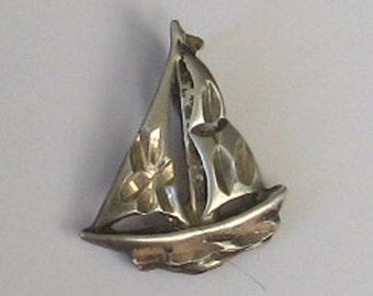SALE Vintage Sterling Sailboat Charm