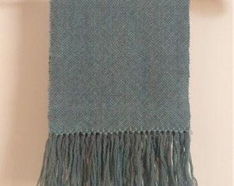 Hand woven blue merino/alpaca scarf