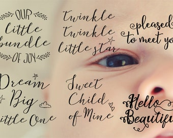baby announcement overlays, baby photo overlay bundle, baby word overlay, baby photo overlays, birth announcement overlays, VOL 1
