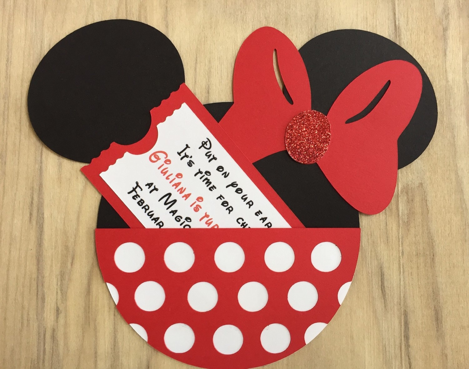 Minnie Mouse Birthday Party Invitation Customized Minnie