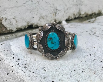 old pawn Native American sterling silver turquoise vintage southwestern southwest cuff bracelet