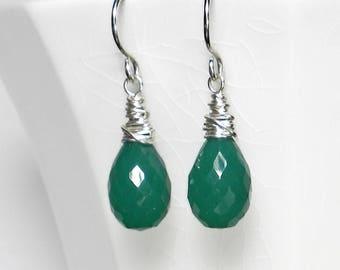 Green Drop Earring Green Earring Green Onyx Earring Green Briolette Earring Sterling Silver Wire Wrapped