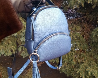 Genuine  leather backpack, blue backpack, woman backpack