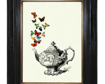 Teapot Butterflies Art Print Teaparty Kitchen Victorian Steampunk Art Print Porcelain Insects