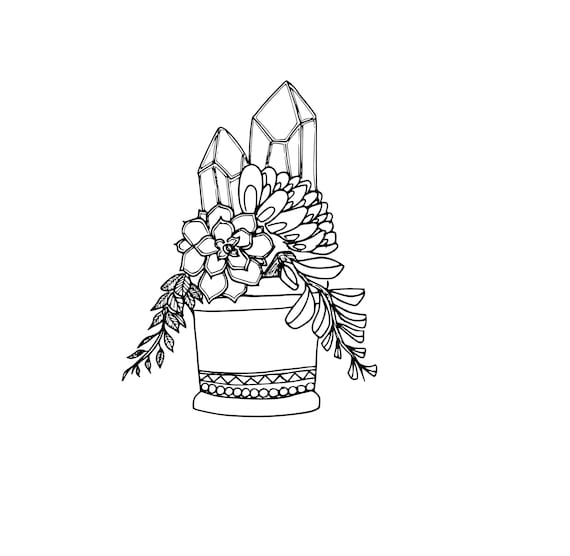 Succulents and Crystals Coloring Page