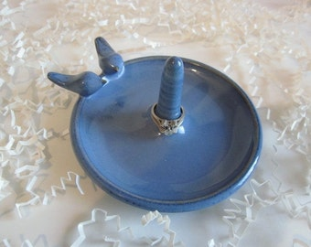 Blue love birds ring dish, gift for bride, birthday gift for wife,