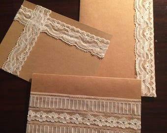 Lace Notecards - Set of 3 Blank Notecards