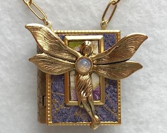 Book Necklace-fairy jewelry-purple-gold-miniature book-storyteller-book locket