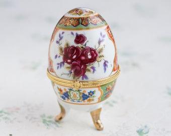 Porcelain Egg Shaped Box - Rococo Kitsch Home Decor