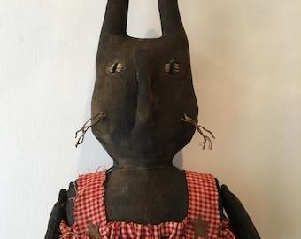 Primitive Black Doll Easter Bunny Spring Rabbit Reba Red Dress