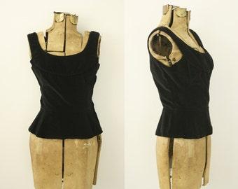1950s velvet top | vintage 50s black top