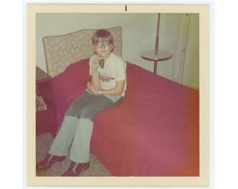 Vintage Snapshot Photo: Boy with Room Key, 1970s (75579)