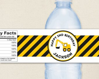 Construction Party - Construction Water Labels - 100% waterproof personalized water bottle labels
