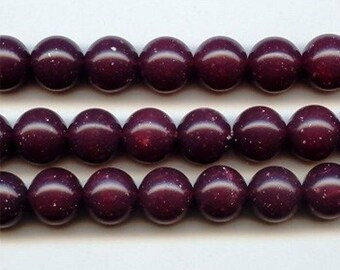 24 Vintage Bordeaux White Flake Acrylic 10mm. Round Smooth Beads 785