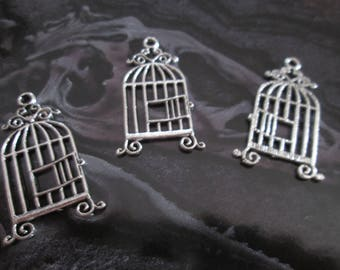 2 charms / silver metal bird cage pendant 29 x 14 mm