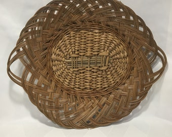 Vintage Oval Wicker Oversized Serving Tray Platter with Handles