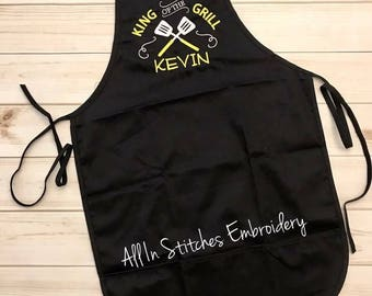 Adult apron 'King of the Grill' embroidered, personalized apron, chef, cook
