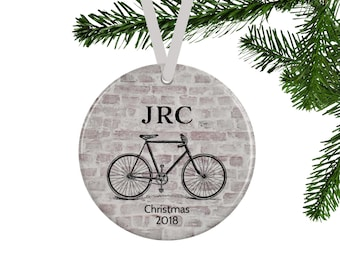 Bicycle Ornament for Him, Personalized Christmas Ornament, Cycling Gift, Boyfriend Gift, Rustic Christmas Tree Decor, Monogrammed