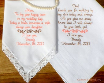 Wedding Gift Embroidered Wedding Hankerchiefs Mother of the Bride and Father of the Bride by Canyon Embroidery