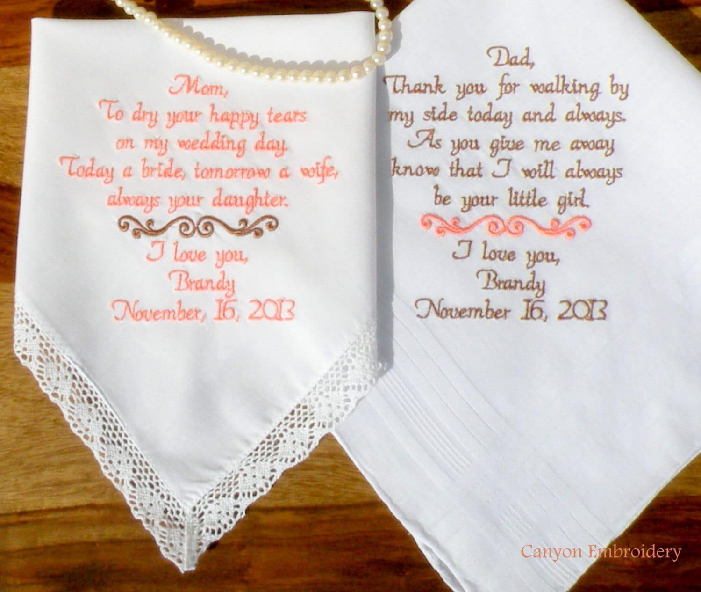 Wedding Gift Embroidered Wedding Hankerchiefs Parents Wedding Gifts ...