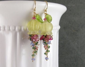 Lemon quartz flower earrings, handmade, pink tourmaline, pink sapphire, tanzanite, green kyanite, and peridot gemstone earrings-OOAK