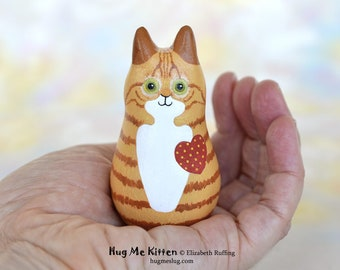 Handmade Kitty Cat Figurine, Miniature Sculpture, Ginger Orange Gold Tabby, Red, Hug Me Kitten, Cat Good Luck Animal Charm, Personalized Tag
