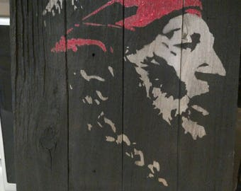 Custom Willie Nelson silhouette picture on pallet wood