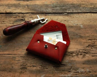 Red credit card case, leather card holder, minimalist wallet, card organizer, card wallet