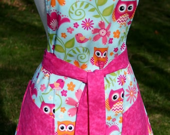 Misses Reversible Apron - Owl and Paisley Print