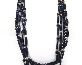 Gorgeous Alluring Multi Strand Black Lucite Beaded Gold Tone  Vintage Estate Necklace